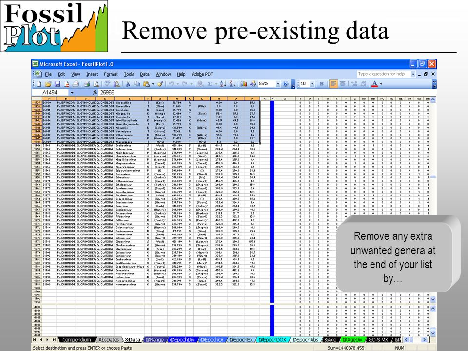 Speciation Remove any extra unwanted genera at the end of your list by… Remove pre-existing data
