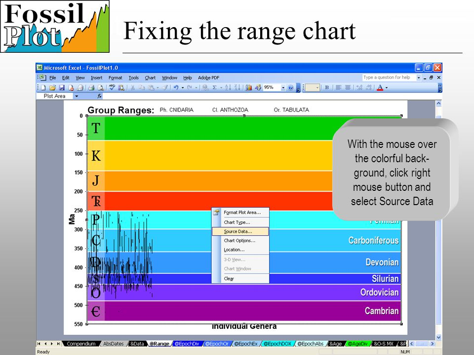 Speciation With the mouse over the colorful back- ground, click right mouse button and select Source Data Fixing the range chart