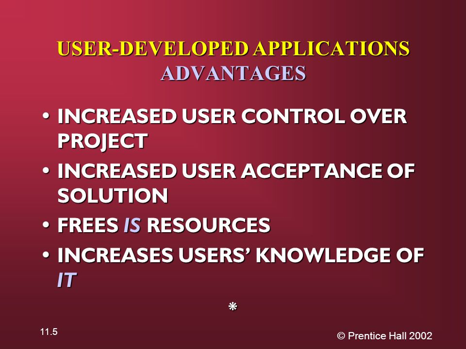 © Prentice Hall 2002 11.5 USER-DEVELOPED APPLICATIONS ADVANTAGES INCREASED USER CONTROL OVER PROJECT INCREASED USER CONTROL OVER PROJECT INCREASED USER ACCEPTANCE OF SOLUTION INCREASED USER ACCEPTANCE OF SOLUTION FREES IS RESOURCES FREES IS RESOURCES INCREASES USERS' KNOWLEDGE OF IT INCREASES USERS' KNOWLEDGE OF IT*
