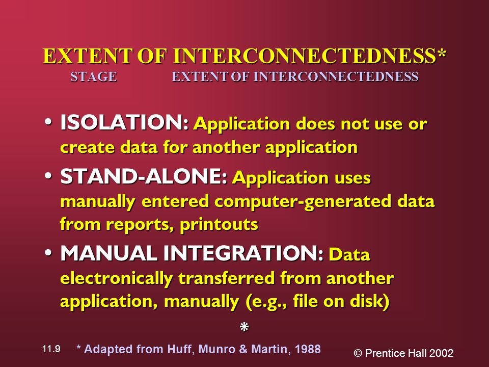 © Prentice Hall 2002 11.9 EXTENT OF INTERCONNECTEDNESS* STAGE EXTENT OF INTERCONNECTEDNESS ISOLATION: Application does not use or create data for another application ISOLATION: Application does not use or create data for another application STAND-ALONE: Application uses manually entered computer-generated data from reports, printouts STAND-ALONE: Application uses manually entered computer-generated data from reports, printouts MANUAL INTEGRATION: Data electronically transferred from another application, manually (e.g., file on disk) MANUAL INTEGRATION: Data electronically transferred from another application, manually (e.g., file on disk)* * Adapted from Huff, Munro & Martin, 1988