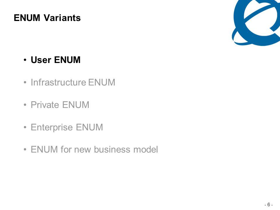 - 6 - ENUM Variants User ENUM Infrastructure ENUM Private ENUM Enterprise ENUM ENUM for new business model