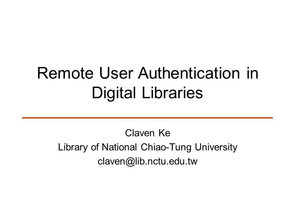 Introduction Libraries subscribe to e-resources Content providers require access be limited to our users –Authentication is the process in which a user s claim to an identity is checked.