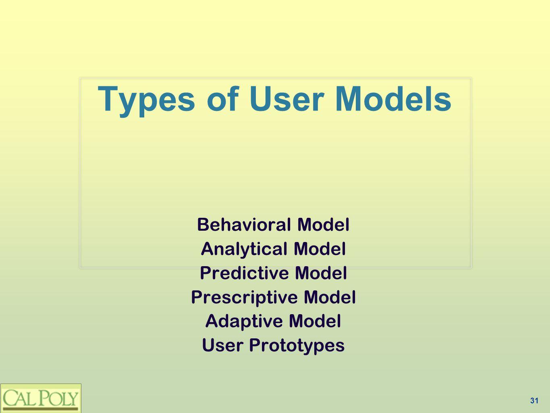 31 Types of User Models Behavioral Model Analytical Model Predictive Model Prescriptive Model Adaptive Model User Prototypes