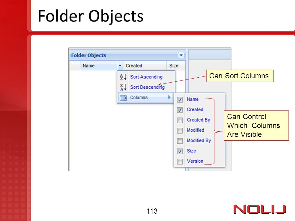 Folder Objects Can Sort Columns Can Control Which Columns Are Visible 113