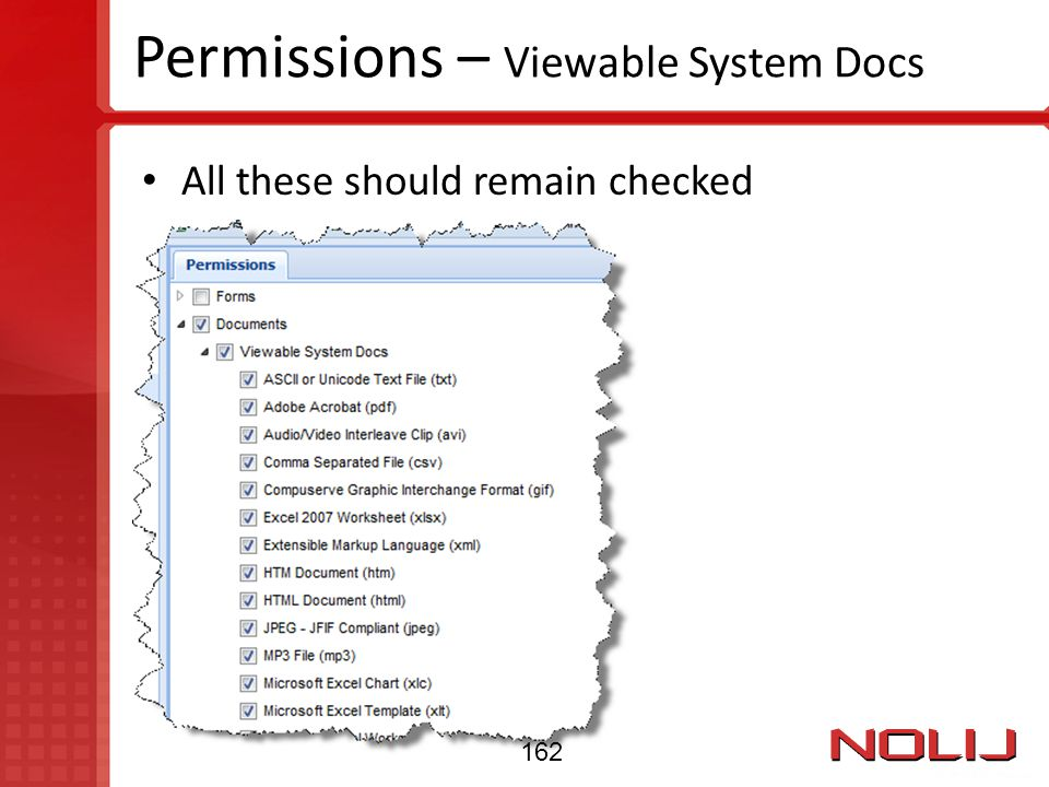 Permissions – Viewable System Docs All these should remain checked 162