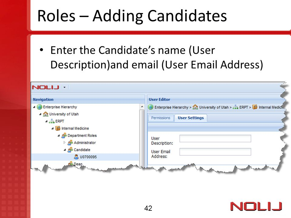 Roles – Adding Candidates Enter the Candidate's name (User Description)and email (User Email Address) 42