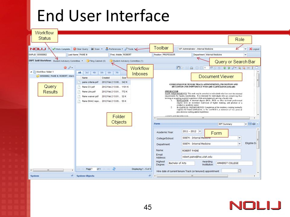 End User Interface Toolbar Workflow Inboxes Query or Search Bar Query Results Folder Objects Form Document Viewer Role Workflow Status 45