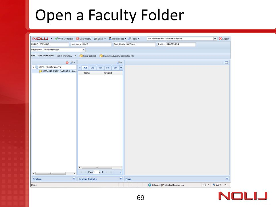 Open a Faculty Folder 69