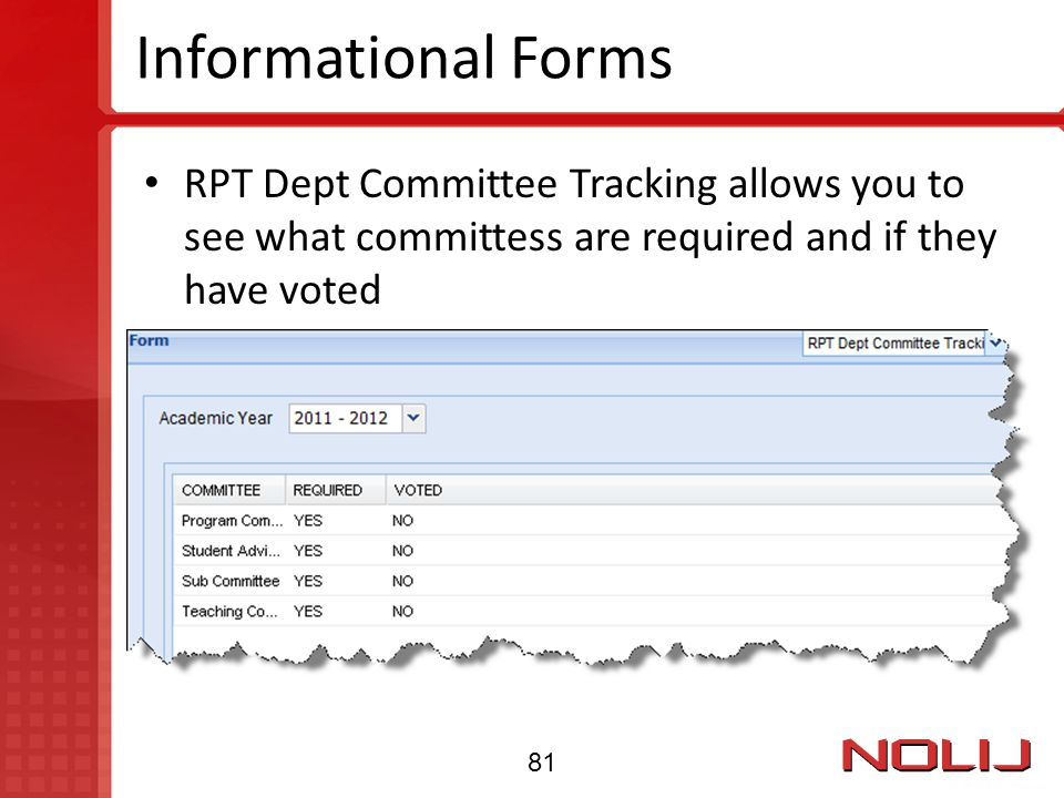 Informational Forms RPT Dept Committee Tracking allows you to see what committess are required and if they have voted 81