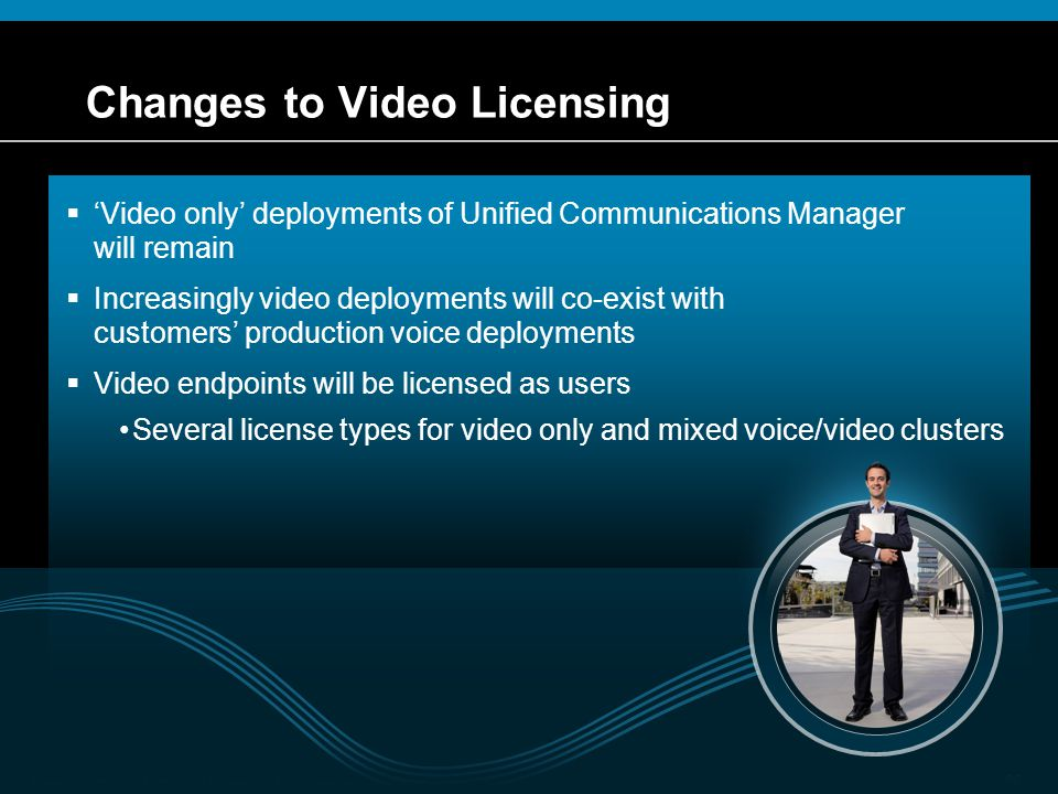 © 2009 Cisco Systems, Inc. All rights reserved.Cisco ConfidentialPresentation_ID 26 Changes to Video Licensing  'Video only' deployments of Unified C