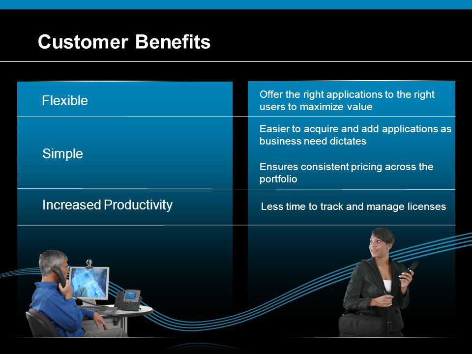 © 2009 Cisco Systems, Inc. All rights reserved.Cisco ConfidentialPresentation_ID 6 Customer Benefits Flexible Offer the right applications to the righ