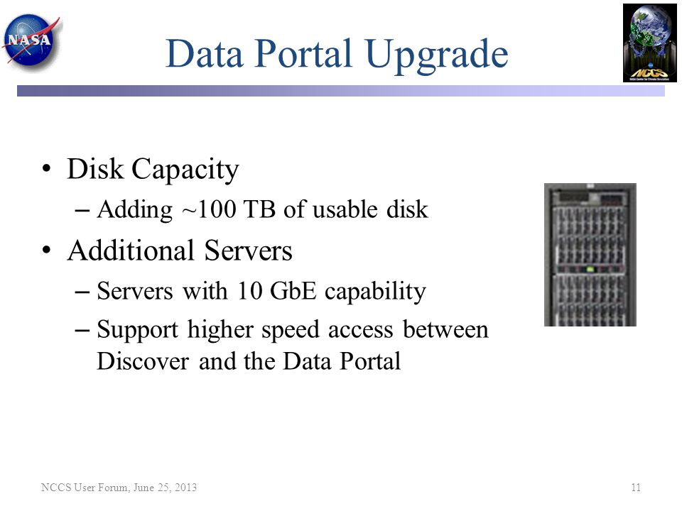 Data Portal Upgrade Disk Capacity – Adding ~100 TB of usable disk Additional Servers – Servers with 10 GbE capability – Support higher speed access be