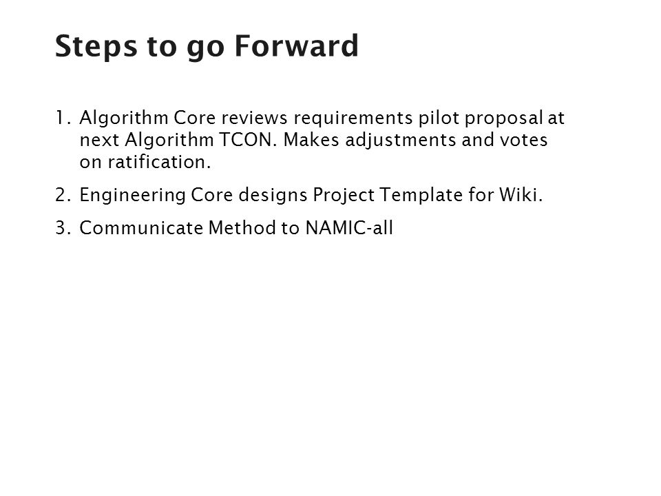 1.Algorithm Core reviews requirements pilot proposal at next Algorithm TCON.