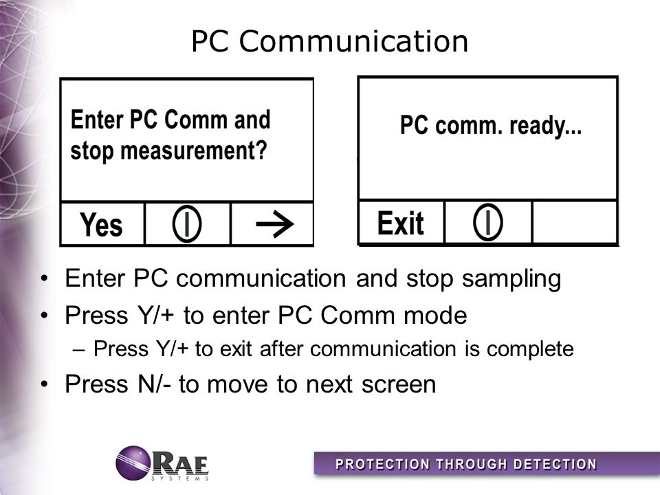 PC Communication Enter PC communication and stop sampling Press Y/+ to enter PC Comm mode –Press Y/+ to exit after communication is complete Press N/- to move to next screen