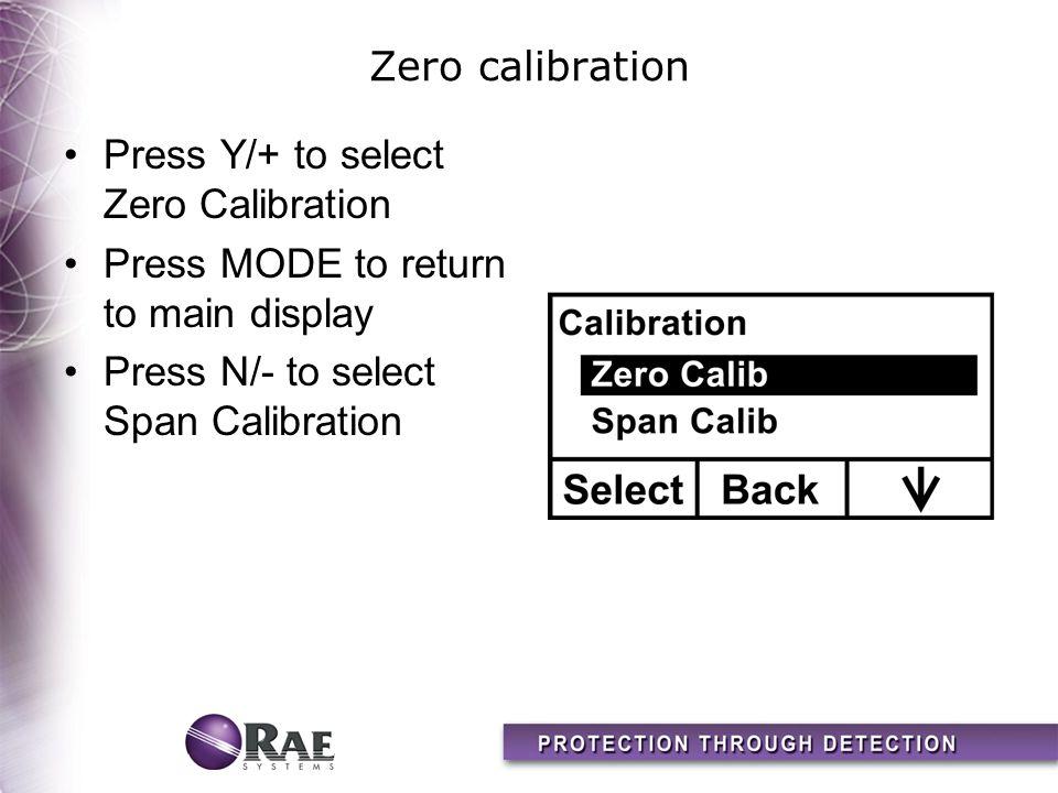 Zero calibration Press Y/+ to select Zero Calibration Press MODE to return to main display Press N/- to select Span Calibration