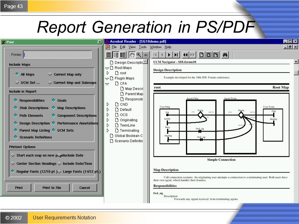 © 2002 Page 43 User Requirements Notation Report Generation in PS/PDF