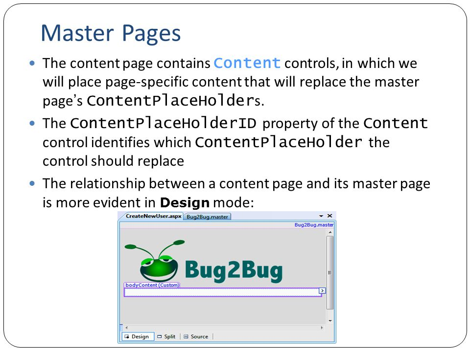 Master Pages The content page contains Content controls, in which we will place page-specific content that will replace the master page ' s ContentPlaceHolder s.