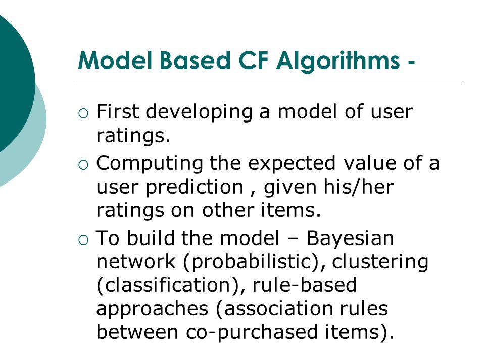Model Based CF Algorithms -  First developing a model of user ratings.