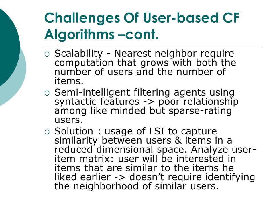 Challenges Of User-based CF Algorithms –cont.