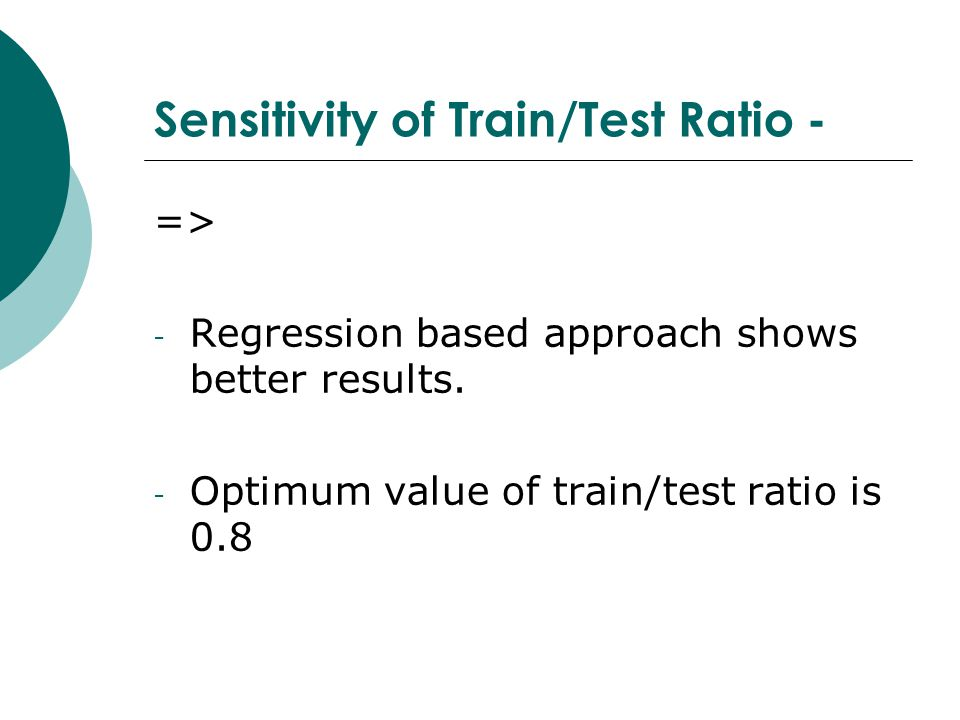 Sensitivity of Train/Test Ratio - => - Regression based approach shows better results.