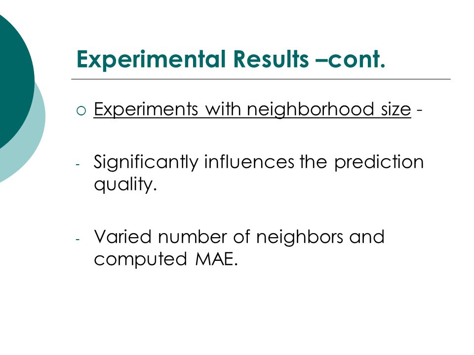 Experimental Results –cont.
