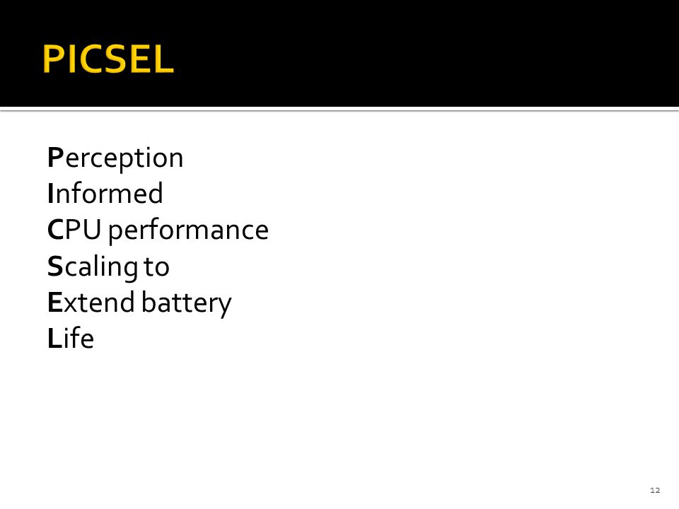 Perception Informed CPU performance Scaling to Extend battery Life 12