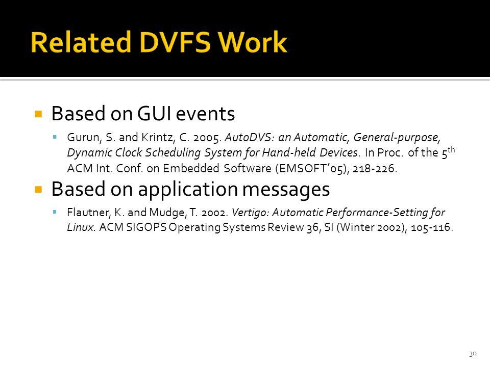  Based on GUI events  Gurun, S. and Krintz, C. 2005.