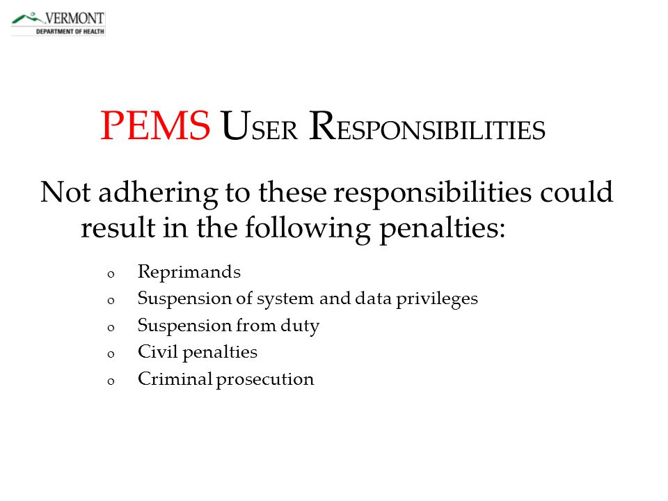 PEMS U SER R ESPONSIBILITIES Not adhering to these responsibilities could result in the following penalties: o Reprimands o Suspension of system and data privileges o Suspension from duty o Civil penalties o Criminal prosecution