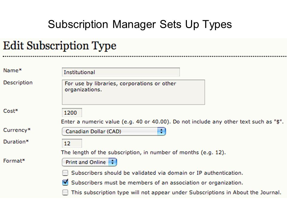 Subscription Manager Sets Up Types