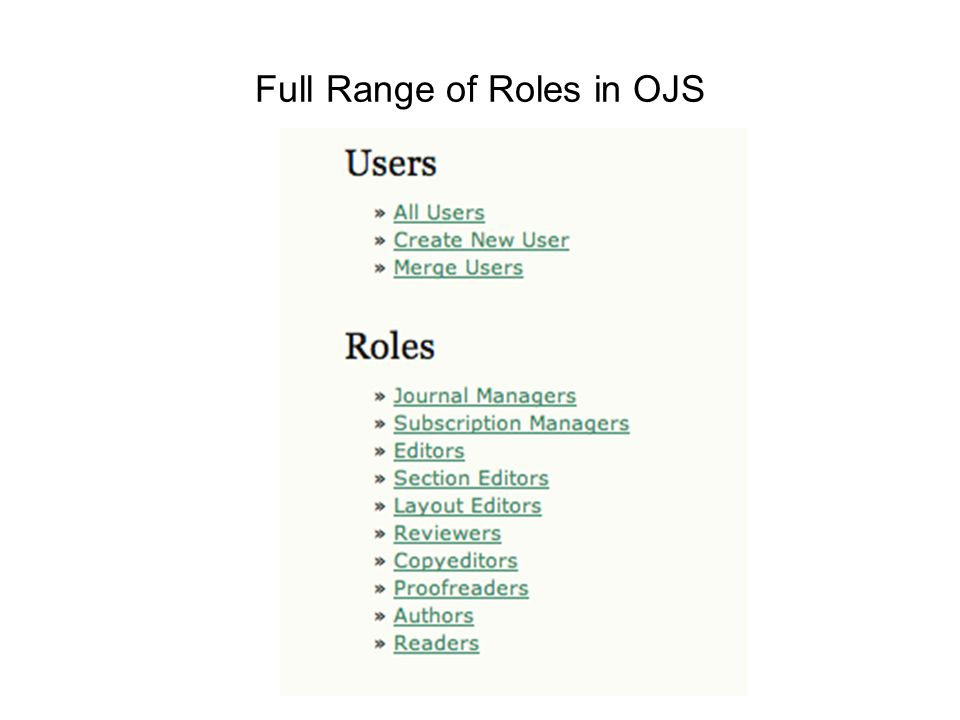 Full Range of Roles in OJS