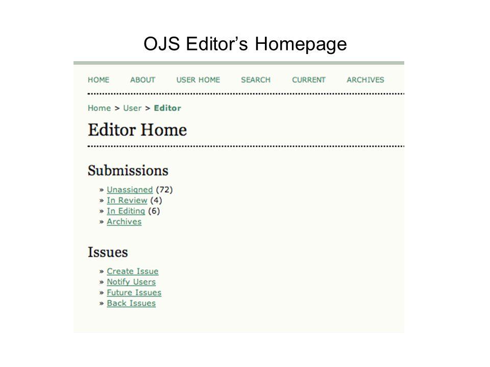 OJS Editor's Homepage