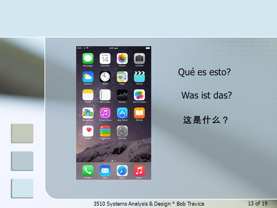 3510 Systems Analysis & Design * Bob Travica Qué es esto? Was ist das? 这是什么? 13 of 19