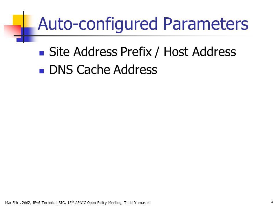 Mar 5th, 2002, IPv6 Technical SIG, 13 th APNIC Open Policy Meeting, Toshi Yamasaki 4 Auto-configured Parameters Site Address Prefix / Host Address DNS
