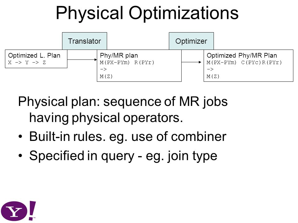 Physical Optimizations Physical plan: sequence of MR jobs having physical operators.