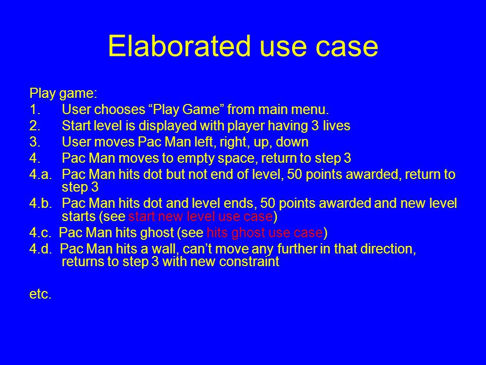 "Elaborated use case Play game: 1.User chooses ""Play Game"" from main menu. 2.Start level is displayed with player having 3 lives 3.User moves Pac Man l"