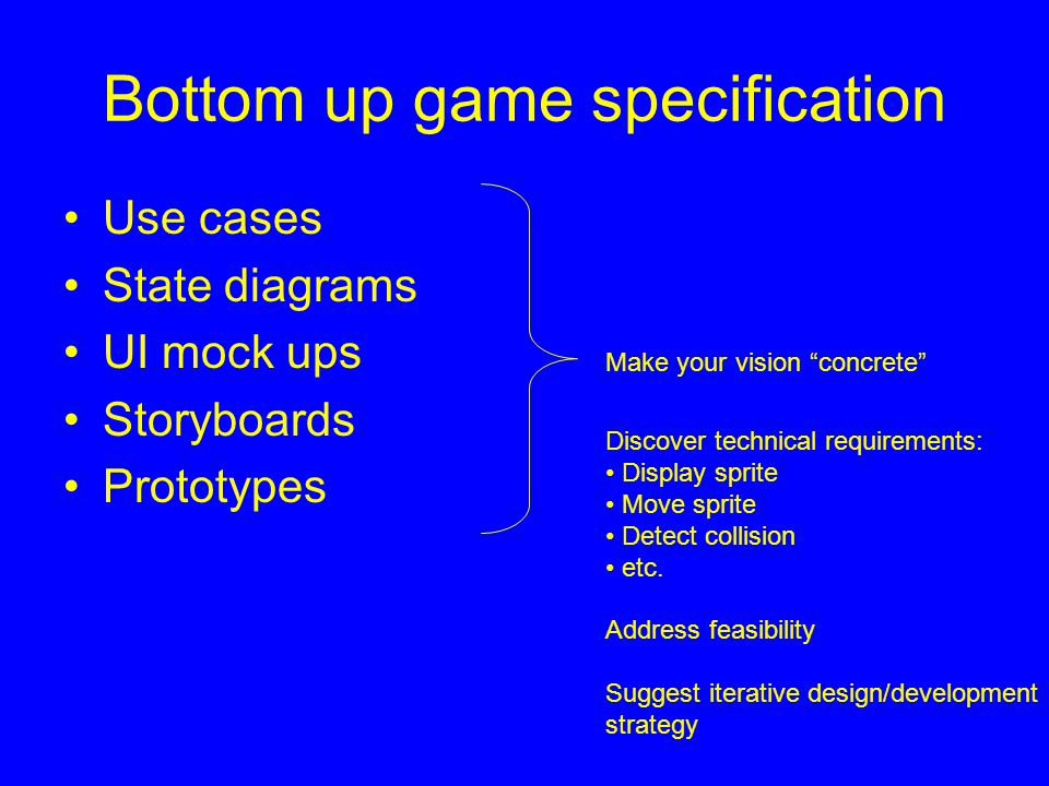 Bottom up game specification Use cases State diagrams UI mock ups Storyboards Prototypes Make your vision concrete Discover technical requirements: Display sprite Move sprite Detect collision etc.