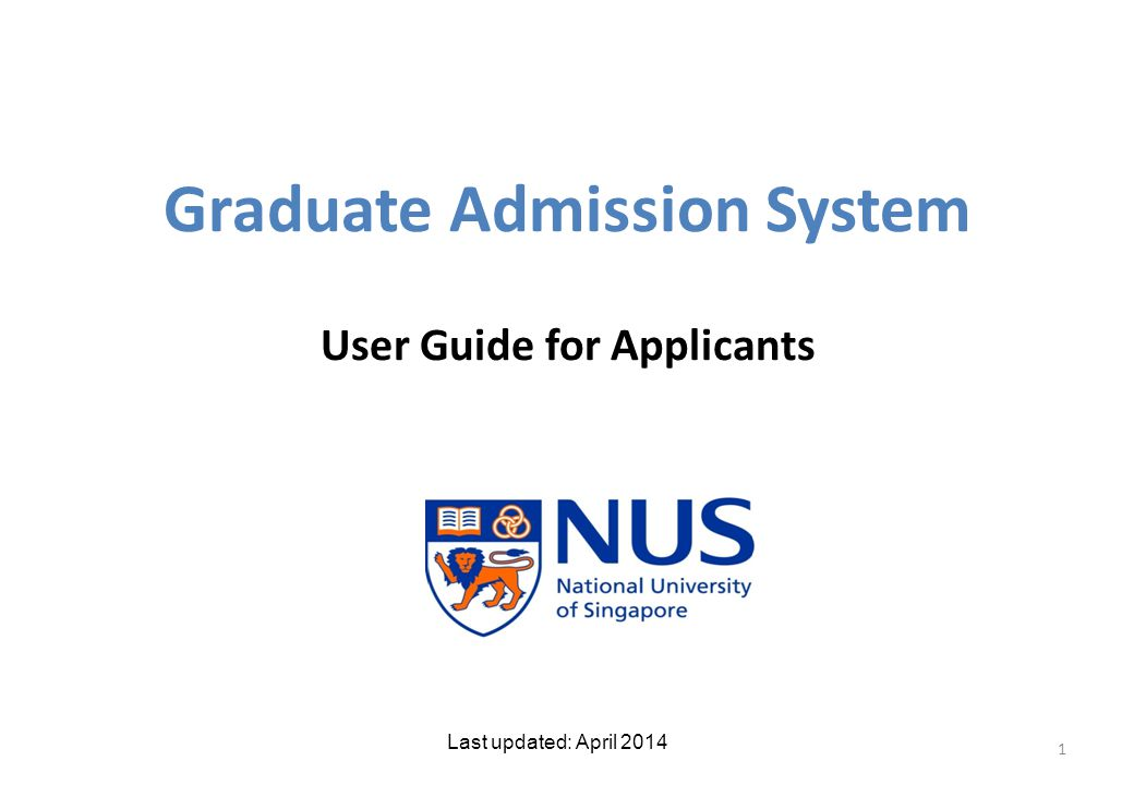 Graduate Admission System User Guide for Applicants 1 Last updated: April 2014