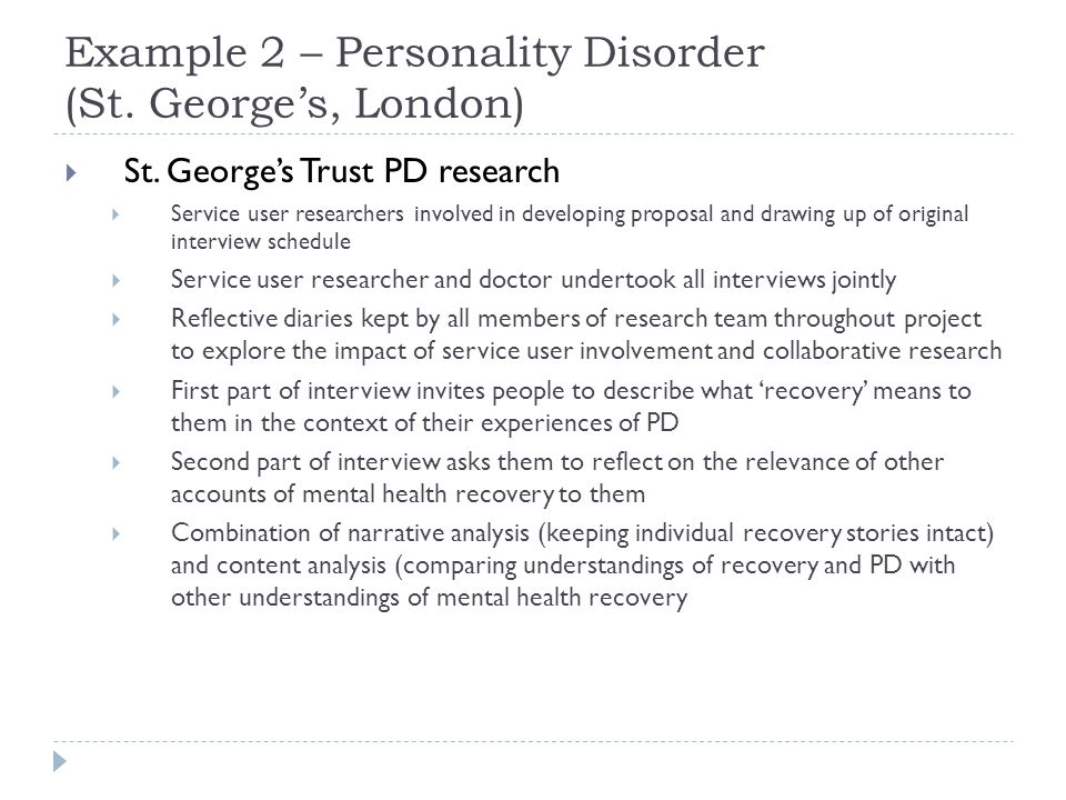 Example 2 – Personality Disorder (St. George's, London)  St.