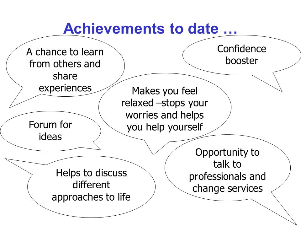 Achievements to date … Confidence booster A chance to learn from others and share experiences Helps to discuss different approaches to life Opportunity to talk to professionals and change services Makes you feel relaxed –stops your worries and helps you help yourself Forum for ideas