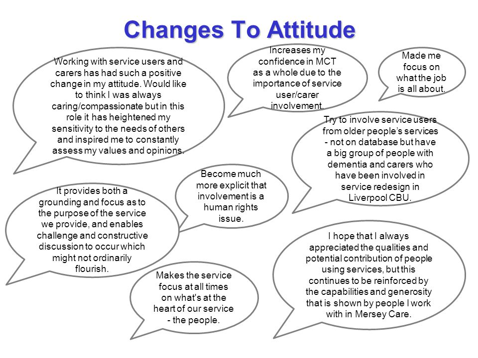 Changes To Attitude Working with service users and carers has had such a positive change in my attitude. Would like to think I was always caring/compa
