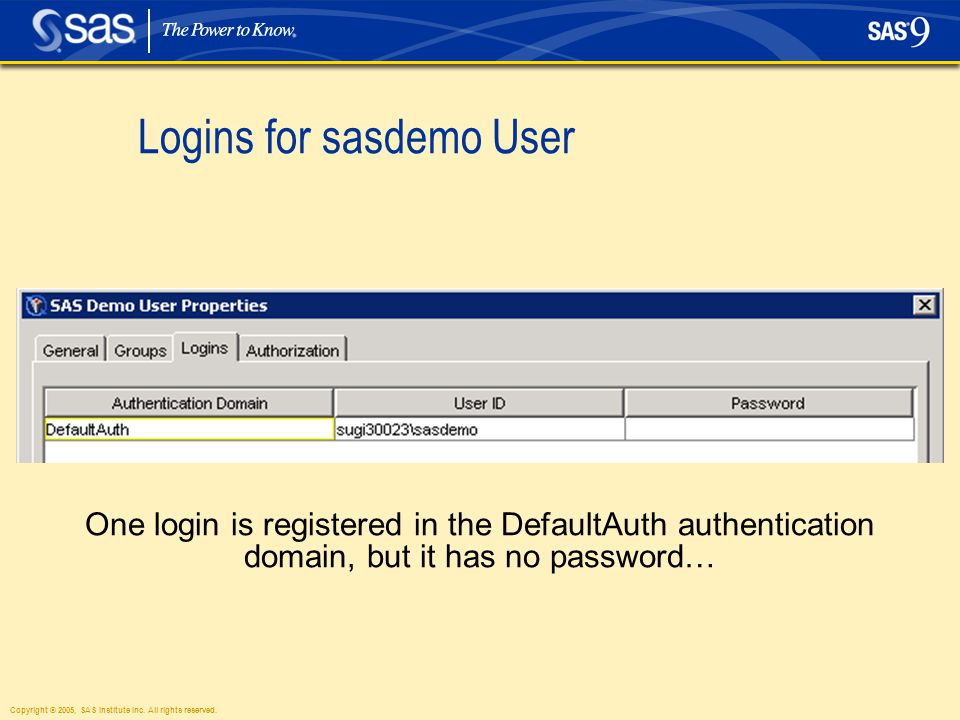 Copyright © 2005, SAS Institute Inc. All rights reserved. Logins for sasdemo User One login is registered in the DefaultAuth authentication domain, bu