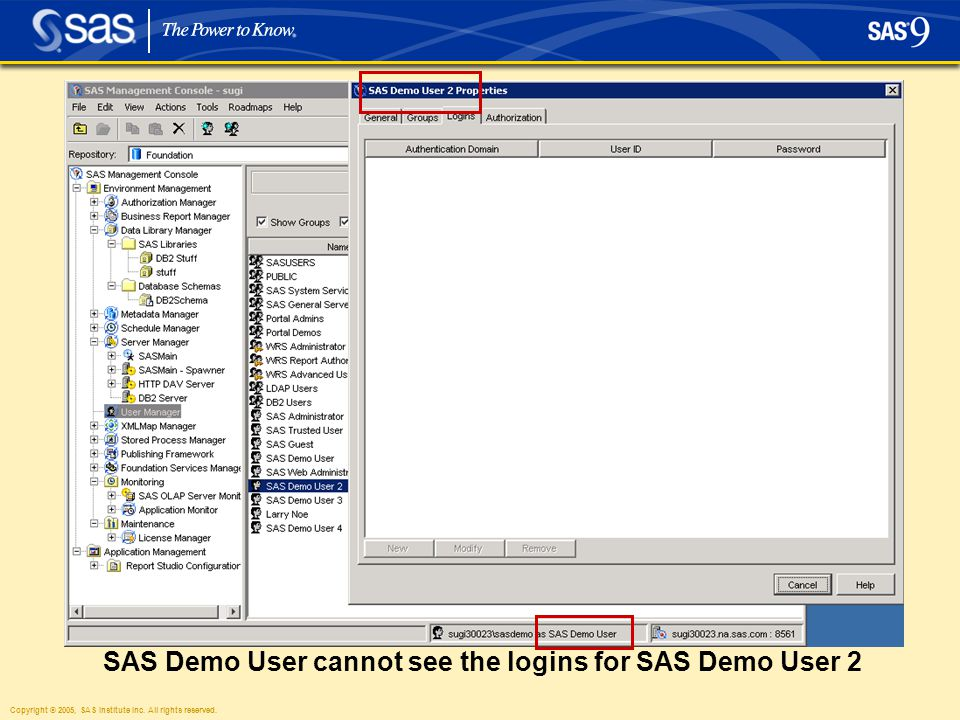 Copyright © 2005, SAS Institute Inc. All rights reserved. SAS Demo User cannot see the logins for SAS Demo User 2