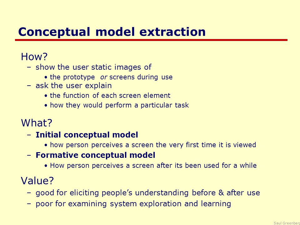 Saul Greenberg Direct observations Evaluator observes users interacting with system –in lab: user asked to complete a set of pre-determined tasks –in field: user goes through normal duties Value –excellent at identifying gross design/interface problems –validity depends on how controlled/contrived the situation is