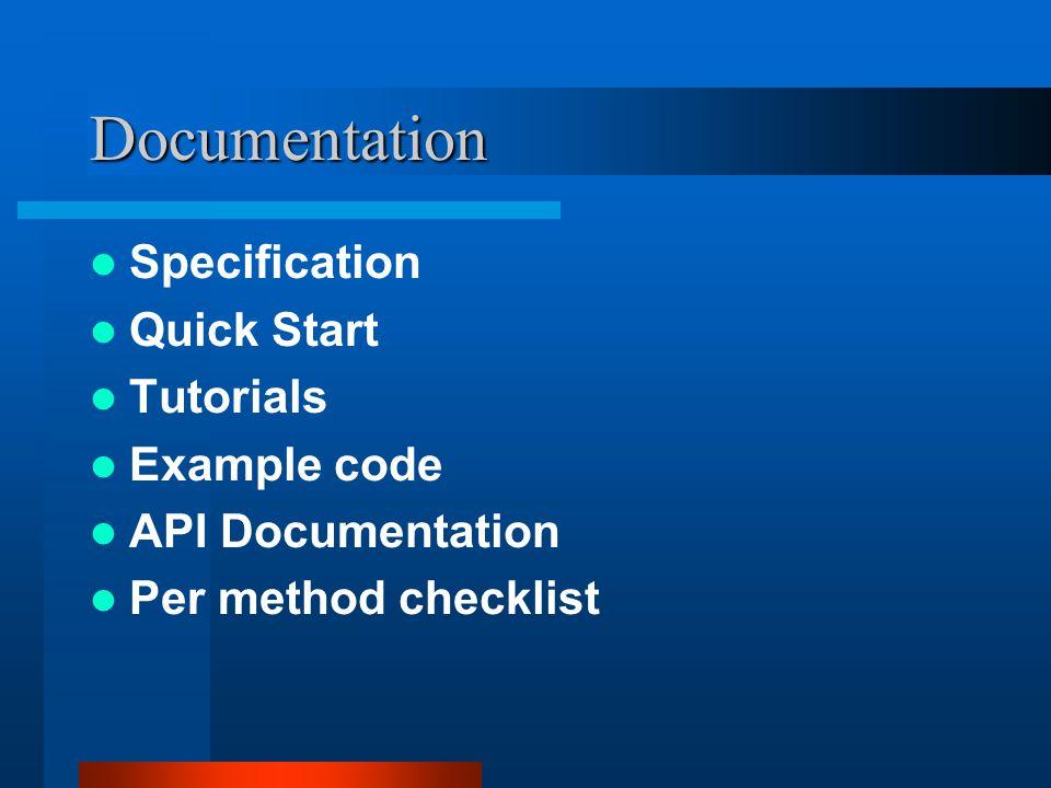 Documentation Specification Quick Start Tutorials Example code API Documentation Per method checklist