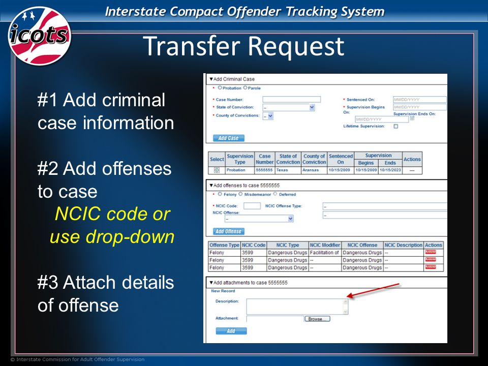 #1 Add criminal case information #2 Add offenses to case NCIC code or use drop-down #3 Attach details of offense