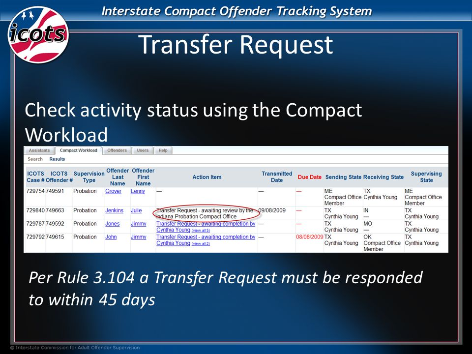 Transfer Request Check activity status using the Compact Workload Per Rule 3.104 a Transfer Request must be responded to within 45 days