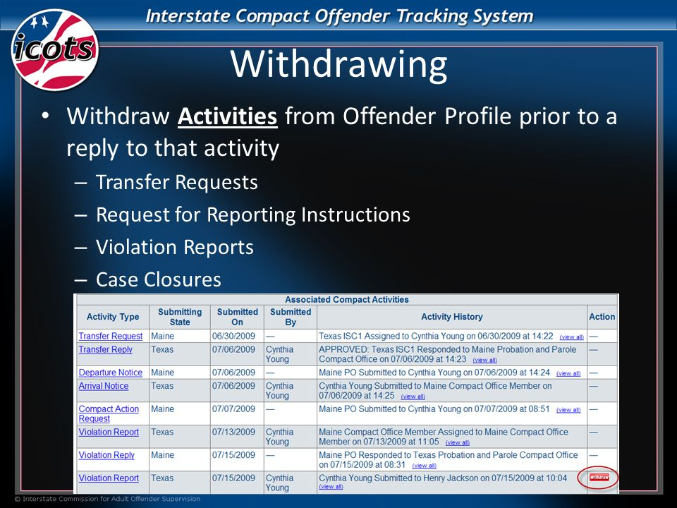 Withdrawing Withdraw Activities from Offender Profile prior to a reply to that activity – Transfer Requests – Request for Reporting Instructions – Violation Reports – Case Closures