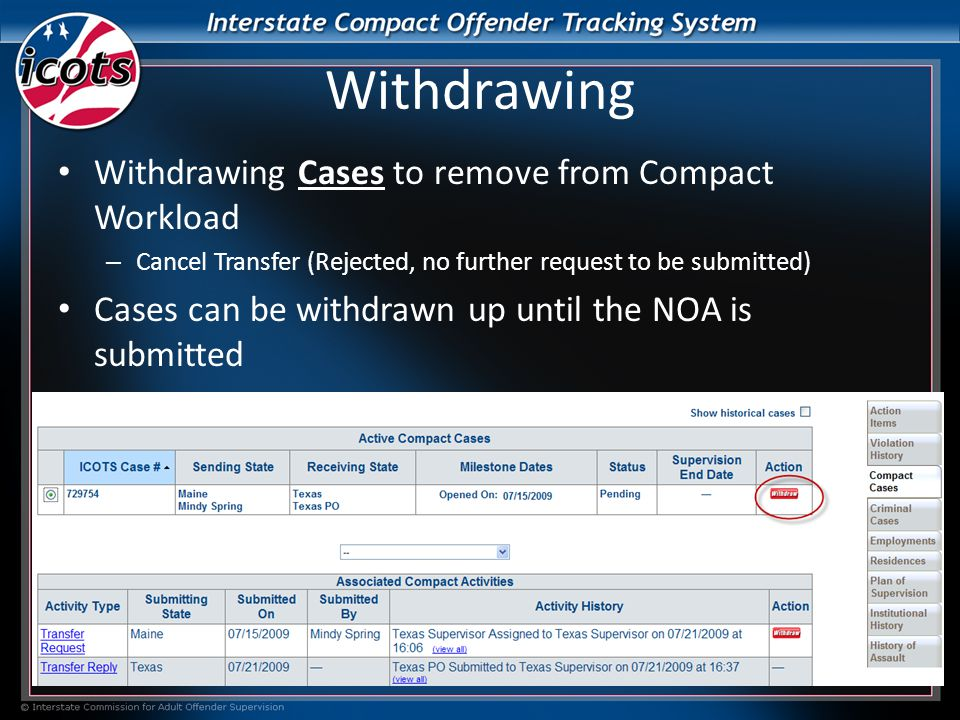 Withdrawing Withdrawing Cases to remove from Compact Workload – Cancel Transfer (Rejected, no further request to be submitted) Cases can be withdrawn up until the NOA is submitted