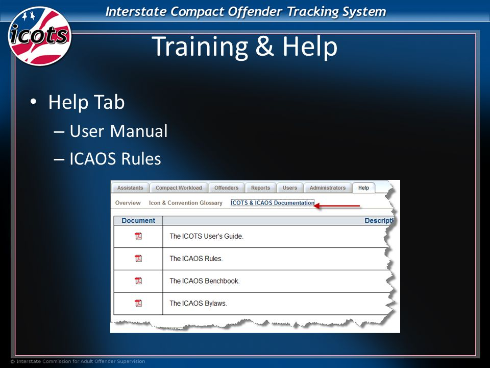Training & Help Help Tab – User Manual – ICAOS Rules