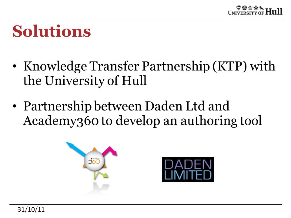 Solutions Knowledge Transfer Partnership (KTP) with the University of Hull Partnership between Daden Ltd and Academy360 to develop an authoring tool 3